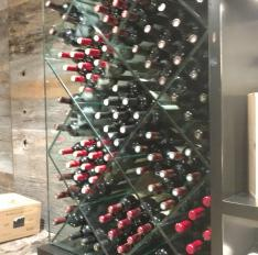 Glass Unlimited Custom glass wine rack.